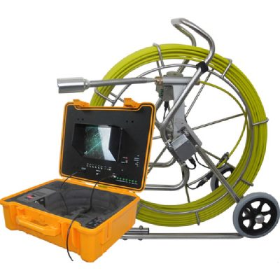 Image of Forbest 3488 Long-Range System for pipe inspections, featuring wheeled stainless steel frame reel, camera head, control station.
