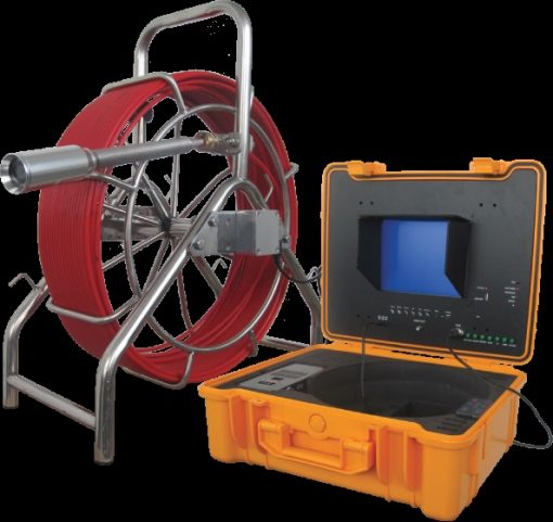 Image featuring Forbest model 3388 Mid-Range System for pipe inspection, including stainless steel reel frame, control station in rugged carrying case.