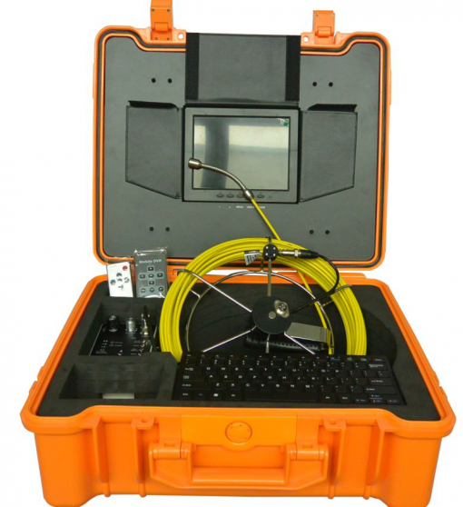 Image of pipe inspection camera system by VICAM MECHATRONICS featuring model V8-1088DK with rod & reel, camera head, control station, keyboard & remotes all together in rugged carrying case.