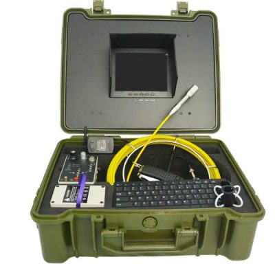 Image of pipe inspection camera system by VICAM MECHATRONICS featuring model V8-3188DK Inspection System including rod & reel, camera head, control station, keyboard, skids, all together in rugged carrying case.