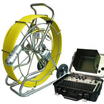 Image of Pipe Inspection System by VICAM MECHATRONICS, model V8-3388PT-1, including stainless steel reel & rod, camera head, and control console.