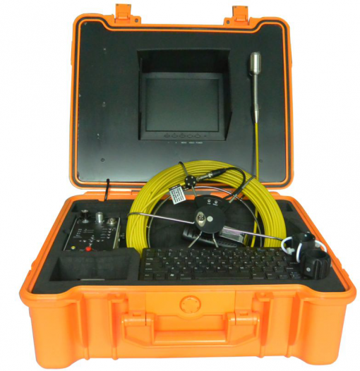 Image showing pipe inspection camera system by VICAM MECHATRONICS featuring model V8-3388DK all-in-one system including rod & reel, camera head, control station together in carrying case.