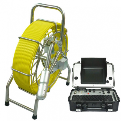 Image of pipe inspection camera system by VICAM MECHATRONICS featuring model V8-3388PT including stainless steel reel with rod, camera head, and control station.
