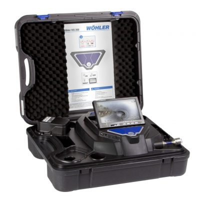 Image of Wohler model VIS 250 Service Camera System featuring display screen, controls, battery, camera head & rod all together in a stylish, rugged case.