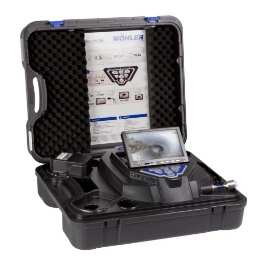 Image of Wohler model VIS 350 Service Camera System featuring all-in-one system of camera head, probe, display screen & controls together in a stylish, rugged carrying case.