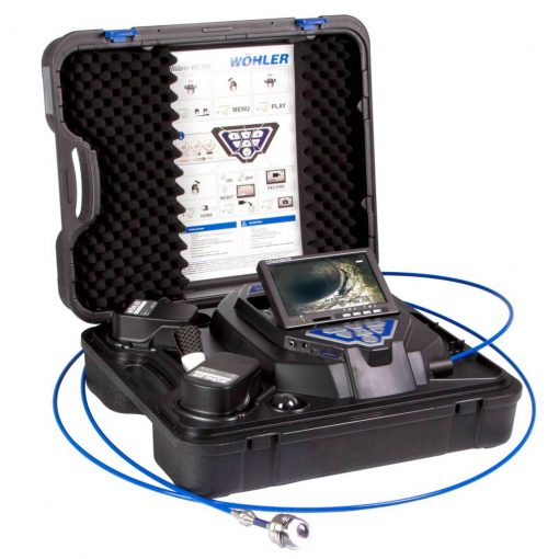 Image of Wohler model VIS 350 PLUS Service Camera System Image featuring all-in-one camera head, display screen, battery, probe storage and control station together in a rugged, stylish carrying case.