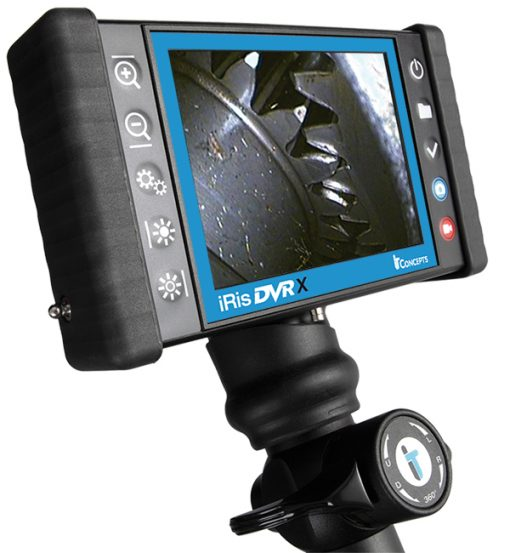 Image of the iRis DVRX model Videoscope by IT Concepts, featuring display monitor, recording and imaging buttons, and the 4-way articulation controls.