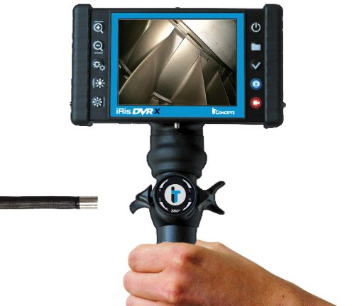 Image of iRis DVRX model Videoscope by IT Concepts, featuring a front view of the HD display monitor, the 4-way articulation controls and the articulating tip of the camera lens with tungsten braided sheath.