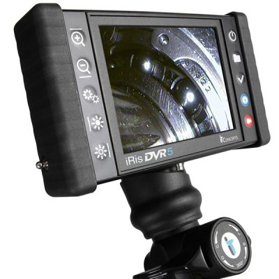 Image of iRis DVR5 model Videoscope by IT Concepts, featuring HD display monitor, image recording & capture buttons, and 4-way articulation controls.
