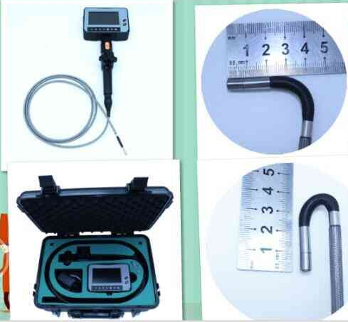 Image of a PV2 model Videoscope, the standard carrying case, and the articulating tip's features.