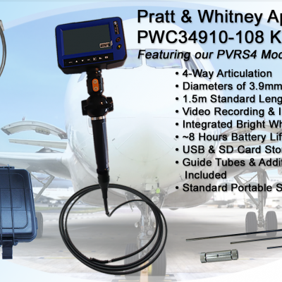 Product Image of PWC9410-108 kit featuring the PVRS4 model Videoscope, with 4-way articulation.