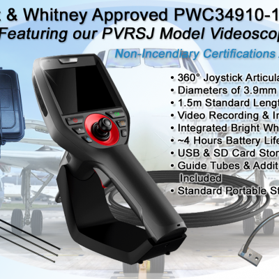 Pratt & Whitney Approved Part # PWC34910-109 Kit featuring our PVRSJ Videoscope for Inspections.